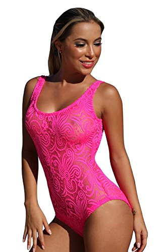 UjENA Neon Pink Sheer French Lace 1-PC Sexy Hot Pink Swimsuit - Size 6