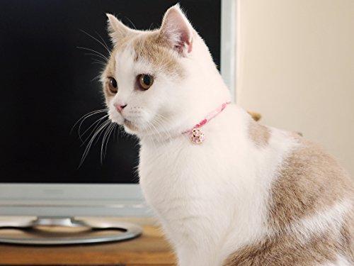 Necoichi Chirimen Cat Collar with Clover Bell (Pastel Pink) by Necoichi (Image #4)