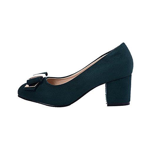 VogueZone009 Damen Rund Zehe Ziehen auf Mattglasbirne Rein Niedriger Absatz Pumps Schuhe Dunkelgrün