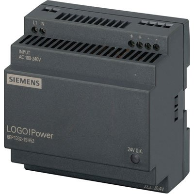 - Siemens 6EP13321SH52 , Power Supply; AC-DC; 24V@4A; 85-264V In; Enclosed; DIN Rail Mount; LOGO! Power Series
