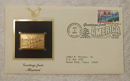 Greetings from Missouri - FDC & 22kt Gold Replica Stamp plus Info Card - Greetings from America Series (Postcard Theme) - Postal Commemorative Society, 2002 - The St. Louis Skyline, the St. Louis Arch, the White Hawthorne Blossom