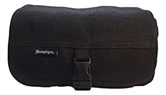 Hemptique Toiletries Bag - 100% Hemp 9 by 5 by 4 ½ Inch Zippered Travel Organizer with Additional Zippered Pocket and Snap-Close Cover Flap (Black)