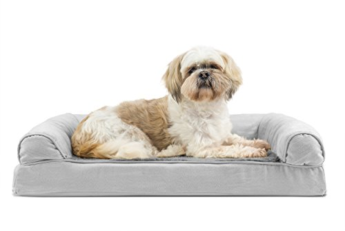 FurHaven Ultra Plush/Velvet Orthopedic Dog Couch Sofa Bed for Dogs and Cats, Plush Gray, Medium Dog Cat Couch
