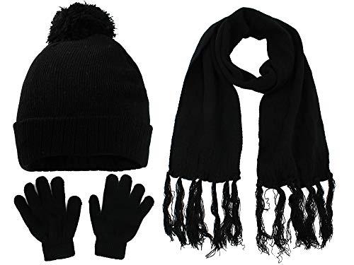 S.W.A.K Kids Girls Knit Pompom Beanie Hat Scarf and Gloves Set One Size Fits Most Black