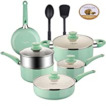 COOKSMARK Pots and Pans Set White Ceramic Coating Nonstick Aluminum Cookware Set With glass lids and Nylon Utensils Sauce Pan with Steamer Dishwasher Safe PTFE, PFOA Free 12-PCS Blue