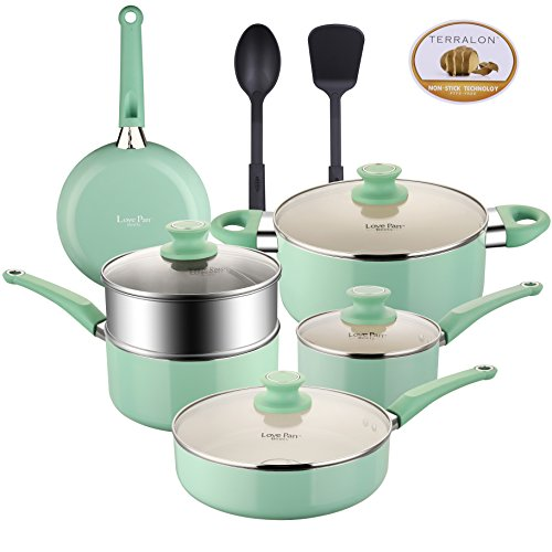 Lovepan Beets Pots and Pans Set, White Ceramic Coating Nonstick Aluminum Cookware Set With glass lids and Nylon Utensils, Sauce Pan with Steamer Dishwasher Safe PTFE, PFOA Free, 5-PCS, Tiffany Blue