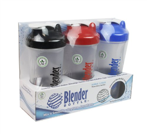 Blender Bottle with Shaker Ball 28 Oz, Pack of 3 (Blue, Red, & Black)