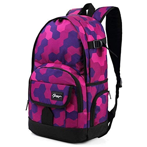 School Backpack, Ricky-H Lifestyle Travel Bag for Men & Women, Lightweight College Back Pack with Laptop Compartment-Hexagon Pink&Purple