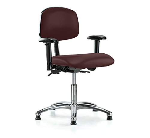Perch Chrome Multi Task Swivel Chair with Stationary Caps, Desk Height, Burgundy Vinyl (Chair Multi Burgundy Task)