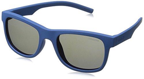 Polaroid Sunglasses Kids' Pld8020s Polarized Wayfarer Sunglasses, Blue/Gray Blue Mirror Polarized, 46 mm