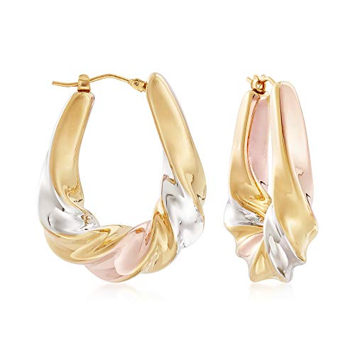 Gold Scalloped - Ross-Simons Italian Andiamo 14kt Tri-Colored Gold Scalloped Hoop Earrings