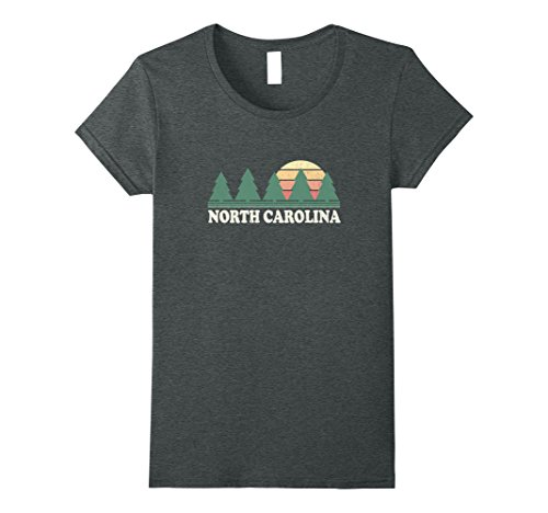 Womens North Carolina Nc T Shirt Vintage 70S Retro Graphic Tee Xl Dark Heather