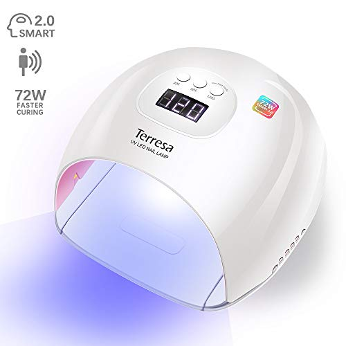 (UV LED Nail Dryer, Terresa Upgraded 72W Curing Lamp, Professional Nail Cure Light with 3 Timer Setting, Automatic Sensor for Gels Polishes)
