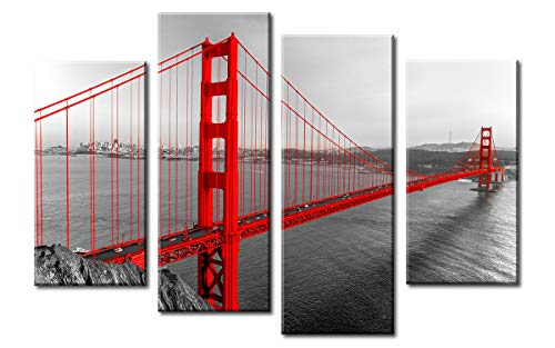 (Golden Gate Bridge Wall Decor - Black White and Red Photograph with Pop of Color on The San Francisco - Cityscape Art Painting poster Framed Canvas Artwork Home Kitchen Living Room Decoration)