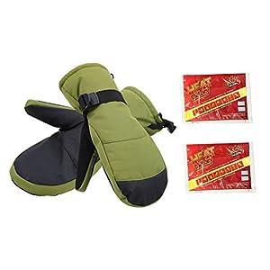 Men's Alpine Ski Mittens with Handwarmer Pocket (Includes 2 Heat Packs)
