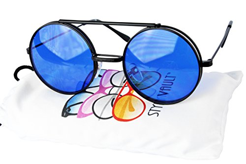 V135-vp Style Vault Round Flip up Django Steampunk Metal Sunglasses (C011 Black-Blue, - Wayne Dwayne Glasses