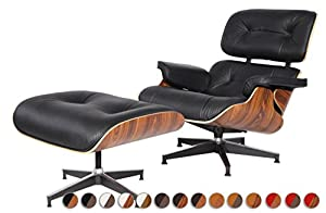 MLF 100% Reproduction Eames Lounge Chair U0026 Ottoman In Premium Top  Leather(Black, Italian Leather, Palisander)