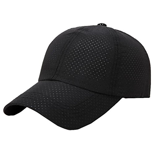 Vertily Hat Casual Breathable Outdoor Sports Visor Adjustable Baseball Trucker (Black) (Pocket Top One Marathon Unisex)