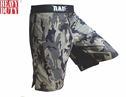 RAD MMA Fight Shorts Grappling Short Kick Boxing Cage Fighting Shorts White and Green Camo (Large, Green Camo)