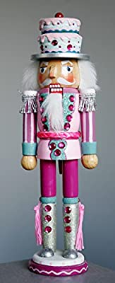 Christmas Nutcracker Figure Soldier Fun Cake Hat Candy and Rhinestone Details 12 Inch Exclusive Design
