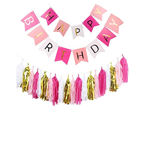 Noon-Sunshine decorative-plaques Happy Birthday Banner Tissue Paper Tassel