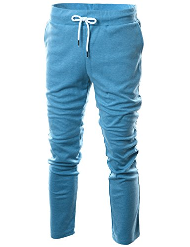 Light Blue Sweatpants - Ohoo Mens Slim Fit Lightweight Training Active Sweatpant/DCA001-SKYBLUE-XL