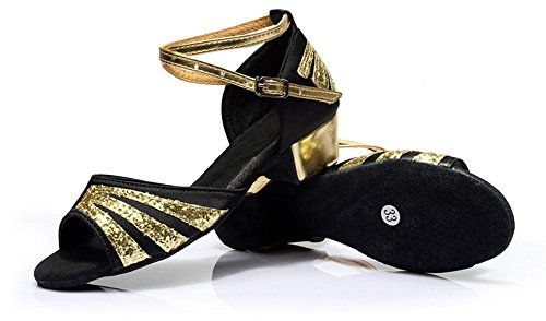 Gold Glittering Strap Satin Latin Dance Shoes for Girls Soft Soled Low Heels(2, Black) by staychicfashion (Image #3)