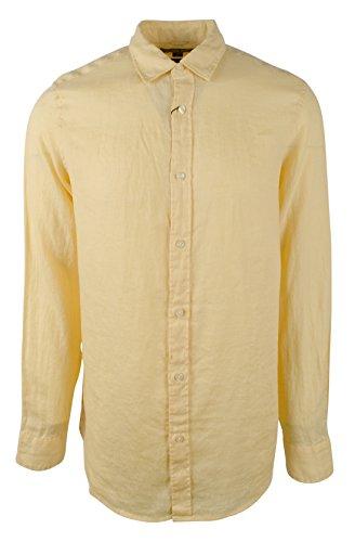Michael Kors Mens Linen Tailored Fit Button-Down Shirt Yellow S