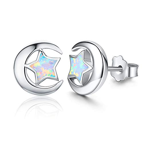Moon and Star Stud Earrings, 925 Sterling Silver Synthetic Opal Earrings Dainty Stud Earrings Hypoallergenic Earrings Gifts for Women Men Teen Sensitive Ears (opal star moon earrings)