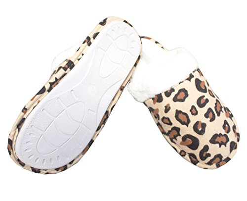 Leisureland Womens In Flanella Di Cotone, Pantofole Comode Leopardate Kaki