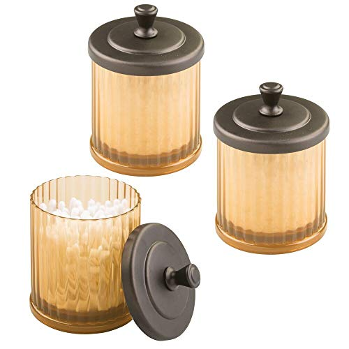 mDesign Fluted Bathroom Vanity Storage Organizer Canister Apothecary Jar for Cotton Swabs, Rounds, Balls, Makeup Sponges, Bath Salts - 3 Pack - Amber/Bronze
