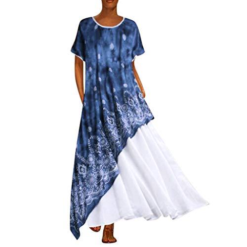 - Dressin Bohe Dress,Women Vintage Splicing Floral Sleeveless Dress Long Maxi Dresses