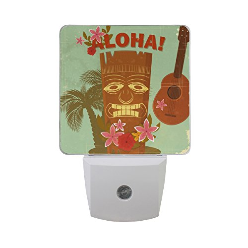 Plug-in LED Night Light Lamp Vintage Hawaiian Aloha Printing with Dusk to Dawn Sensor for Bedroom, Bathroom, Hallway, Stairways, 0.5W-2 Pack -