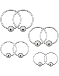 18G Captive Bead Ring 8PC Piercing Kit Stainless Steel for Eyebrow Lip Ear Snug