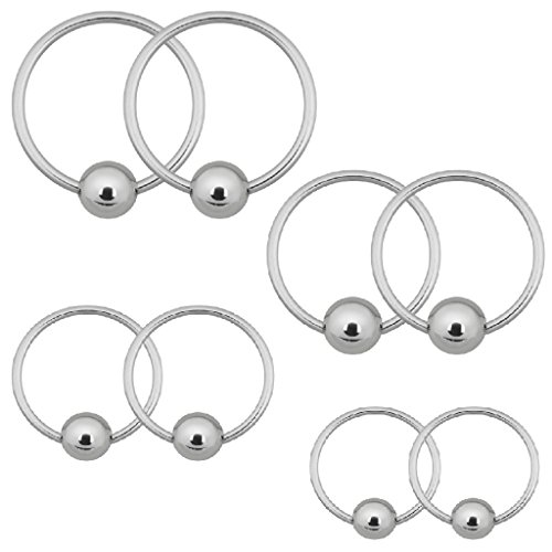 (BodyJ4You 18G Captive Bead Ring 8PC Piercing Kit Stainless Steel for Eyebrow Lip Ear)