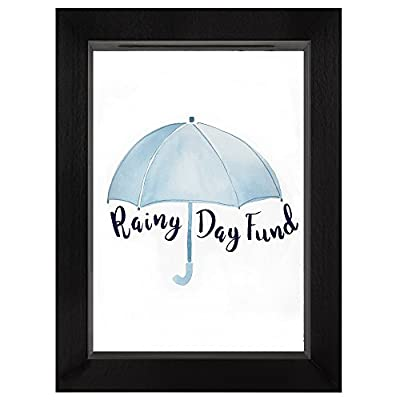 "Americanflat Decorative Shadow Box Frame Rainy Day Fund in Black with Polished Glass for Wall and Tabletop - 5"" x 7"" - Design: Black 5x7 inch shadow box frame with ""Rainy Day Fund"" printed on the glass front and a slot in the top for coins and dollar bills; comes with hanging hardware for hassle-free display in both horizontal and vertical formats to hang flat against the wall; can be displayed on desktop, tabletop or a mantel Material: Wood shadow box frame with a polished glass front that reads ""Rainy Day Fund""; preserves your spare change and bills as you save up for something special Quality: Durable shadow box frame with a clear glass front; save your coins and dollar bills easily, quickly and securely - picture-frames, bedroom-decor, bedroom - 41hnAIZ2X3L. SS400  -"