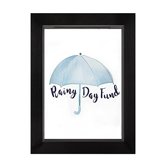 """Americanflat Rainy Day Fund Decorative Shadow Box Frame, Glass Sized 5x7 Inches - Design: Black 5x7 inch shadow box frame with """"Rainy Day Fund"""" printed on the glass front and a slot in the top for coins and dollar bills; comes with hanging hardware for hassle-free display in both horizontal and vertical formats to hang flat against the wall; can be displayed on desktop, tabletop or a mantel Material: Wood shadow box frame with a polished glass front that reads """"Rainy Day Fund""""; preserves your spare change and bills as you save up for something special Quality: Durable shadow box frame with a clear glass front; save your coins and dollar bills easily, quickly and securely - picture-frames, bedroom-decor, bedroom - 41hnAIZ2X3L. SS570  -"""