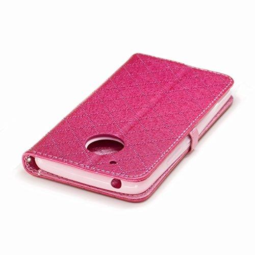 Yiizy Motorola Moto G5 Custodia Cover, Amare Design Sottile Flip Portafoglio PU Pelle Cuoio Copertura Shell Case Slot Schede Cavalletto Stile Libro Bumper Protettivo Borsa (Rose Red)