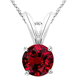 "1/2 - 5 Carat Round Ruby 4 Prong Pendant Necklace (AAA Quality) W/ 16"" Silver Chain"