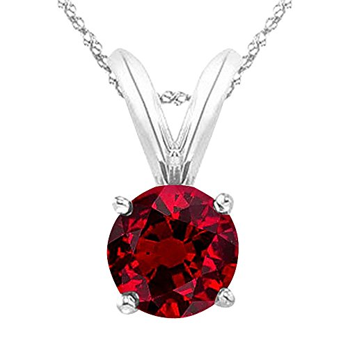 2/3 Carat 14K White Gold Round Ruby 4 Prong Solitaire Pendant Necklace (AAA Quality) W/ 16