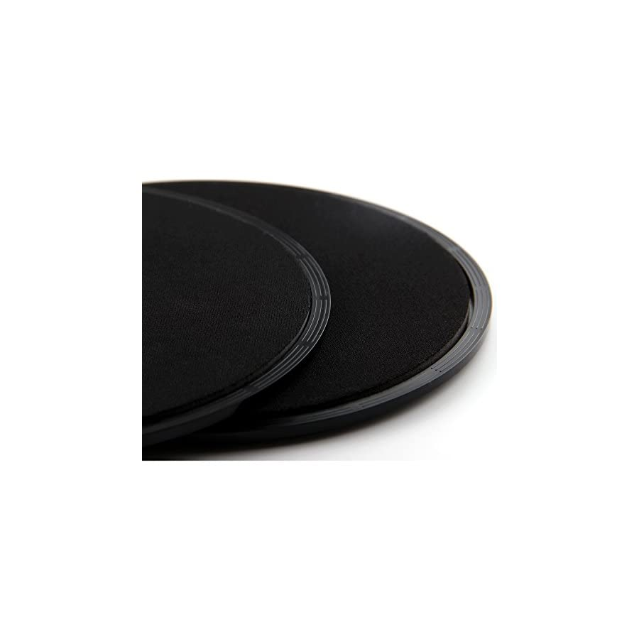 PAMASE Gliding Discs Exersice Core Sliders + Resistnce Rubber Rope for Full Body Workout on Hardwood Floors and Carpet