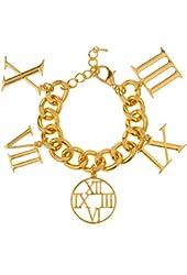Goldtone Roman Numerals Dangling Charms Adjustable Cuban Chain Bracelet