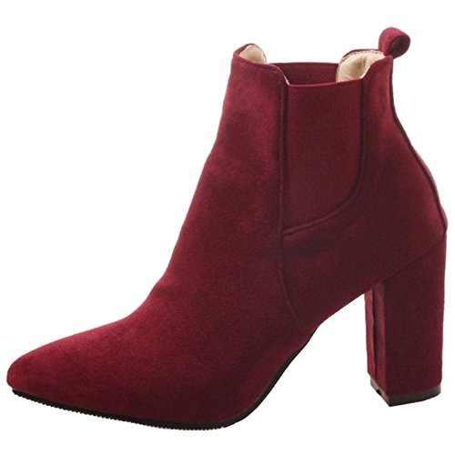 Heel Boots Women KemeKiss Chelsea Claret High wE0E7qp