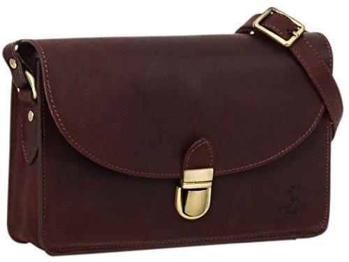 """Gusti Cuir studio """"Zoey"""" sac à main sac à bandoulière sac pour sortir sac de loisirs femme cuir de vachette marron foncé 2H54-33-9"""