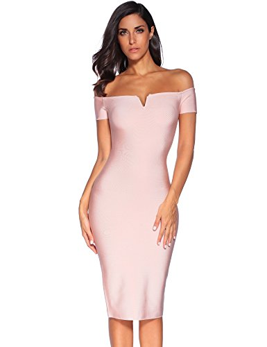 Meilun Women's Strapless Knee Length Off Shoulder Bandage Dress Beige Medium