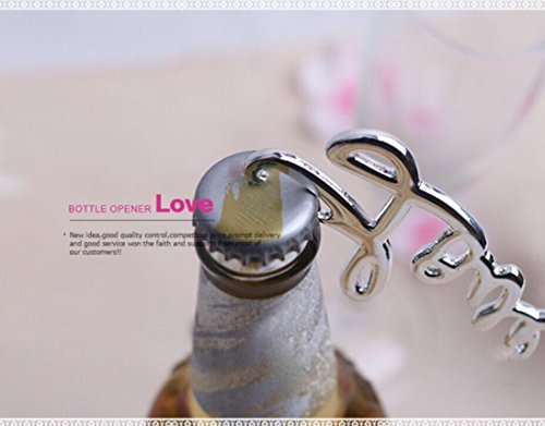 Letter Love Opener (Rumas Individual Love Bottle Opener, Letter Can Bottle Corkscrew Keychain for Home Party Hotel (Silver))