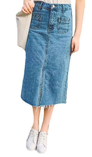 Winwinus Women High Waist Skirt Tassel Edge Cotton Denim Split A-line As Picture M - Edge Denim Skirt