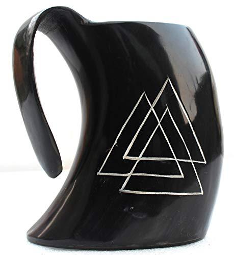 uniquewonderitems GOT Halloween Party Celtic Valknut Carved Viking Drinking Horn Beer Mug -