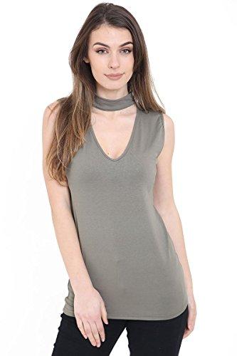 Janisramone - Camiseta sin mangas - Básico - Sin mangas - para mujer verde caqui Más Talla