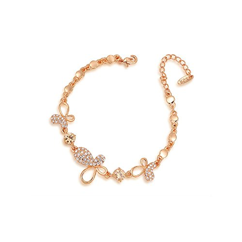 Deezire Jewels Fine Rose Gold Vermeil Butterfly Charm Chain Bracelet by Fashion Jewelry For Women